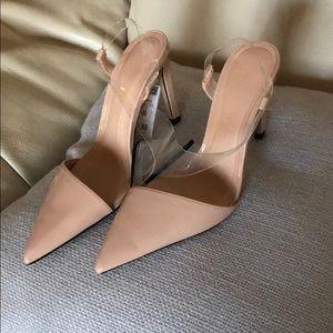 Zara Pointy Clear Patent Nude Shoes